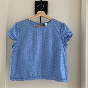 Divided Periwinkle Blue Eyelet Top Size 8